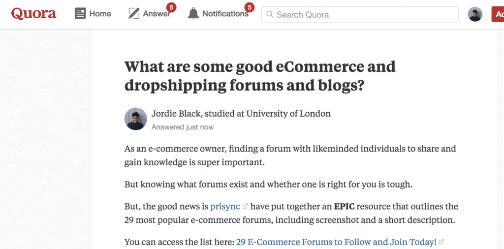 quora content marketing